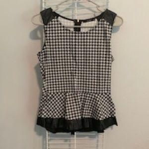 White and black checker printed peplum top